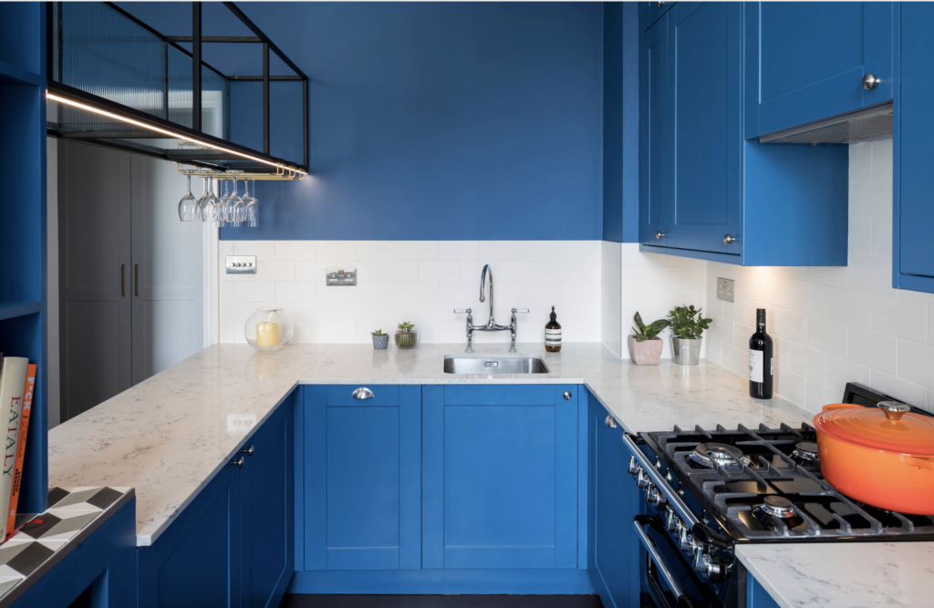 Bold blue kitchen designed and build by Holland Street Kitchens, example of new kitchen trends for 2020.